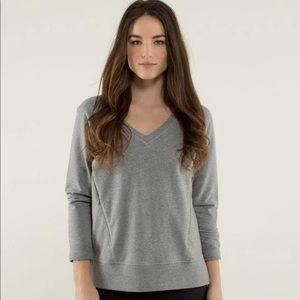Lululemon After Asana Gray V Neck Sweatshirt 8